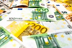 As cédulas do Euro fecham-se acima Várias centenas Imagem de Stock
