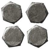 As cabeças de parafuso do metal ajustaram o isolatedbackground no branco Imagem de Stock
