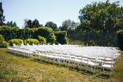 As cadeiras brancas estão nas fileiras no gramado verde fotos de stock