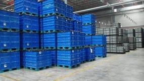 As caixas coloridas (azuis) armazenadas no armazém Imagem de Stock