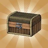 As caixas de madeira antigas entregam o estilo da gravura do desenho com raios Foto de Stock