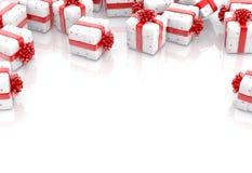 As caixas de presente do Natal isolaram-se imagens de stock