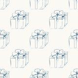 As caixas de presente esboçam o teste padrão sem emenda Foto de Stock Royalty Free
