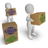 As caixas novas e usadas mostram produtos recentemente chegados e de segunda mão Fotografia de Stock