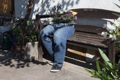 as calças de brim da interrupção decoradas com as flores que sentam-se em um jardim bench a Fotos de Stock Royalty Free