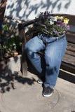 as calças de brim da interrupção decoradas com as flores que sentam-se em um jardim bench a Foto de Stock