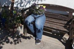 as calças de brim da interrupção decoradas com as flores que sentam-se em um jardim bench a Imagem de Stock Royalty Free