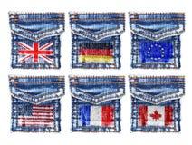 As calças de brim pockets com as bandeiras de Inglaterra, Alemanha, Europa, América, Canadá Imagem de Stock Royalty Free