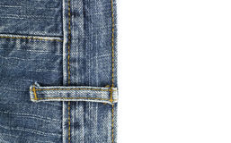 As calças de brim texture com a emenda no isolado branco Imagem de Stock