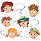 As caras das crianças com bolhas do discurso Imagens de Stock