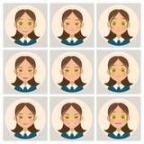 As caras das mulheres A cara da mulher com emoções diferentes Vetor Fotografia de Stock