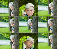 As caras emocionais do rapaz pequeno, expressões ajustaram-se exterior Imagens de Stock