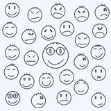 As caras emocionais dos desenhos animados, ajustaram a banda desenhada expressada Imagem de Stock