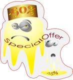 As caras engraçadas oferecem a descontos especiais a etiqueta do logotipo da oferta especial Imagens de Stock