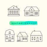 As casas ajustaram o esboço preto tirado em uma luz Imagens de Stock Royalty Free