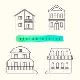 As casas ajustaram o esboço preto tirado em uma luz Imagens de Stock