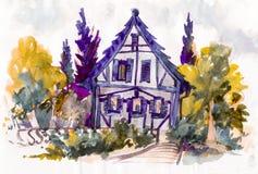 As casas bonitos com vermelho telham a arte finala da aquarela Fotos de Stock Royalty Free
