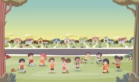 As casas coloridas na vizinhança do subúrbio com desenhos animados bonitos caçoam o jogo Imagens de Stock