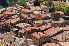 As casas com telhados vermelho-telhados Foto de Stock Royalty Free
