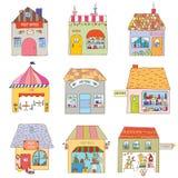 As casas da cidade engraçada ajustaram-se - empresas e escritórios ilustração stock