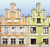 As casas da fachada do renascimento em Landshut, Alemanha pintaram em brilhante Imagem de Stock Royalty Free