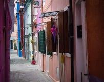 As casas da ilha de Burano, Itália Fotos de Stock
