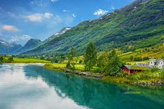 As casas de campo na vila Olden em Noruega Imagens de Stock Royalty Free