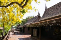As casas de Tailândia construíram da madeira que as árvores plantaram em torno da casa Foto de Stock