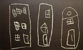 As casas de tiragem das crian?as ilustração do vetor