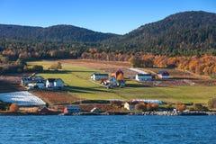 As casas estão em montes litorais Lensvik, Noruega fotos de stock royalty free