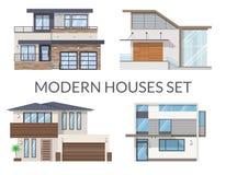 As casas modernas ajustaram-se, bens imobiliários assinam dentro o estilo liso Fotografia de Stock