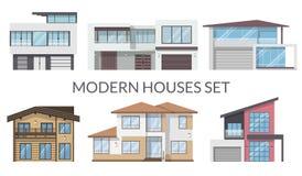 As casas modernas ajustaram-se, bens imobiliários assinam dentro o estilo liso Ilustração do vetor Imagem de Stock