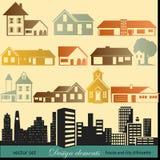 As casas mostram em silhueta o grupo Imagens de Stock