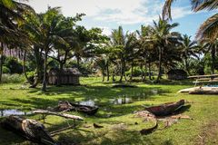 As casas Pictural dos pescadores, Mahavelona chamaram geralmente Foulpointe, Toamasina, Madagáscar fotografia de stock royalty free