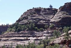 As Cathedral Rock Trail Steepens, Hikers Become Climbers. SEDONA, ARIZONA, OCTOBER 11. The Cathedral Rock Trail on October 11, 2017, near Sedona, Arizona. As Royalty Free Stock Image