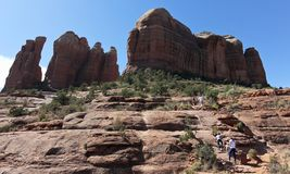As Cathedral Rock Trail Steepens, Hikers Become Climbers. SEDONA, ARIZONA, OCTOBER 11. The Cathedral Rock Trail on October 11, 2017, near Sedona, Arizona. As Stock Image