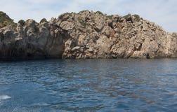 As cavernas azuis, Zakynthos, Grécia Fotos de Stock
