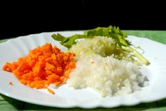 As cebolas, as cenouras e o aipo de Brunoise em uma placa, aprontam-se para cozinhar Ta Imagens de Stock Royalty Free