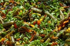 As cenouras, brócolis, feijões verdes, milho, fritaram no azeite Imagens de Stock