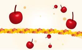 As cerejas frescas, caindo da parte superior, com verão borbulham decoração Fotografia de Stock Royalty Free