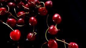 As cerejas maduras voam em um fundo preto filme