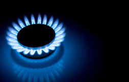 As chamas azuis do hob ardente do fogão de gás fecham-se acima na obscuridade em um fundo escuro Fotografia de Stock Royalty Free