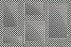 As chapa de vidro são instaladas Bandeiras de vidro do vetor em um fundo transparente Vidro Pinturas de vidro Quadros da cor Foto de Stock