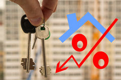 As chaves e a disposição de um apartamento novo Imagem de Stock Royalty Free
