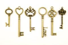As chaves medievais decorativas do vintage com o forjamento intrincado, composto de elementos da flor de lis, rolos da folha do v Imagens de Stock
