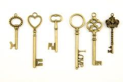 As chaves medievais decorativas do vintage com o forjamento intrincado, composto de elementos da flor de lis, rolos da folha do v Imagens de Stock Royalty Free