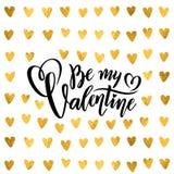 As citações de rotulação escritas à mão da folha dourada do vetor sejam meu teste padrão tirado Valentine Calligraphy do ouro dos ilustração royalty free