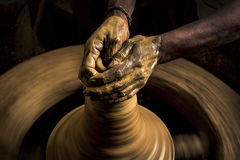 As the clay pot takes shape Royalty Free Stock Photography