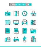 As coisas do escritório, a planície e a linha ícones ajustaram-se, projeto liso ilustração royalty free