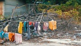 As coisas secas pobres nos ramos em árvores O os sem-abrigo pobre seca suas coisas nas ruas da cidade video estoque